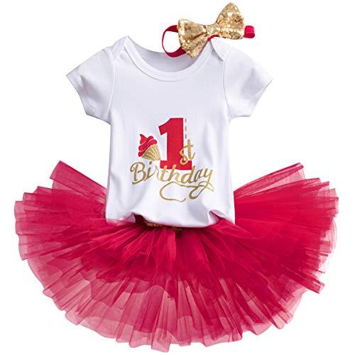 NNJXD Girl Newborn Crown Tutu 1st Birthday 3 Pcs Trajes de Flores Romper + Falda + Diadema Rojo