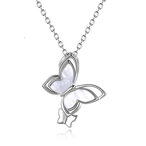 Collar de mariposa para mujer de plata de ley S925, colgante de mariposa de madre perla collar joyería regalo de cumpleaños
