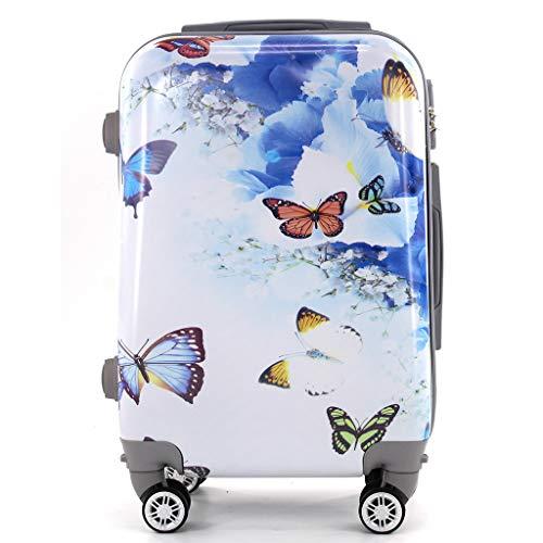 Maleta de Cabina Trolley de Viaje Equipaje de Mano 4 Ruedas giratorias 360grados Dibujos Fantasia Paisaje (Mariposas)