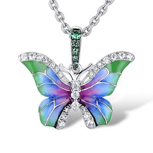 Namana Collar con Colgante de Mariposa para Mujer. Collares de Plata de Ley 925 para Mujer con Piedras de Circonita Cúbica Verde y Blanca y Detalles de Esmalte de Colores.
