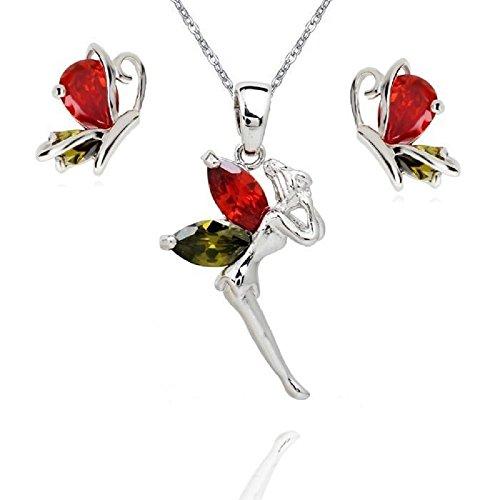 Hada Tinkerbell Mariposa Juego de Joyas con Colorido Cristales austríacos de Zirconia Collar Pendientes 18k Chapado en Oro Blanco