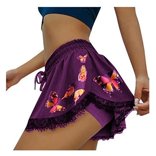 KYZRUIER Pantalones cortos para mujer, con estampado de mariposas, pantalones sueltos, pantalones elásticos de cintura para yoga, con estampado de mariposas, pantalones cortos informales de yoga