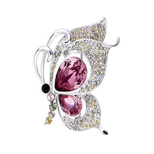 ZNXHNDSH HND Broche, Broche del Cristal de Swarovski de la Mariposa, Temperamento Señora Pin mantón, Capa de la Manera Pin, Blue Sea (Color : Classical Pink, Size : 3.9 * 3.2cm)