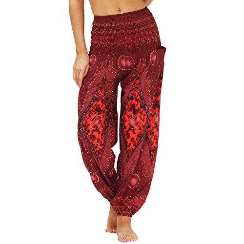 Nuofengkudu Mujer Yoga Pantalones Cintura Alta con Bolsillos Harem Hippies Baggy Tailandeses Estampado Verano Elastica Pilates Pantalon Pants Casual(Y-Patrón F,Talla única)