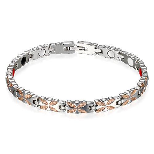 Flongo - Pulsera para mujer de acero de titanio con diseño de mariposa, piedra magnética, eslabones plateados y rosa