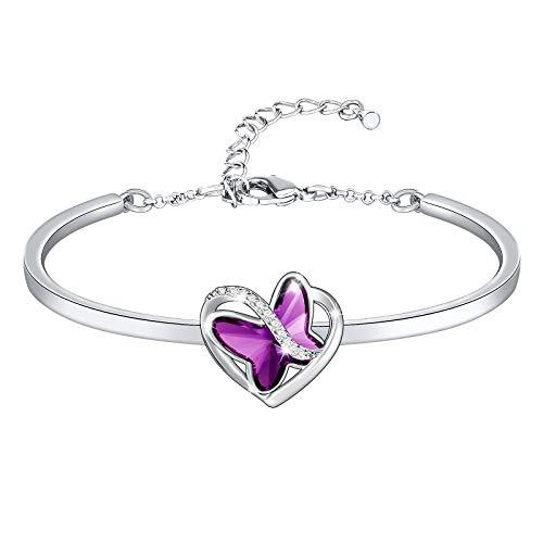 SNZM Pulsera de mujer diseño de mariposa morada cristales de alta gama de aniversario adornos navideños para novia y madre