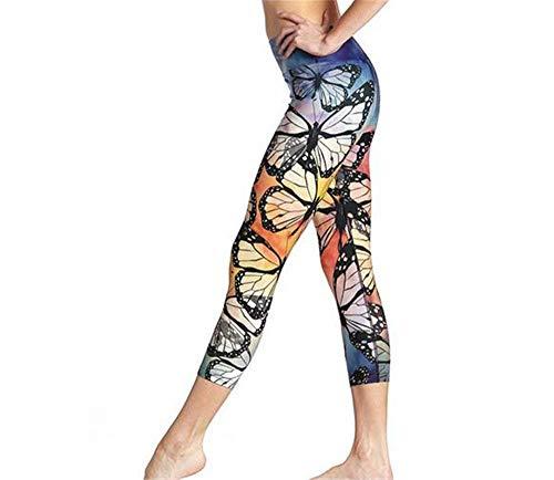 Pantalones De Yoga para Mujer Funcionamiento Casuales Mariposa Impresión Mujeres 3D Fitness Deportiva Pantalones De Baile Pantalones De Jogging Acogedores (Color : Colour, Size : L)
