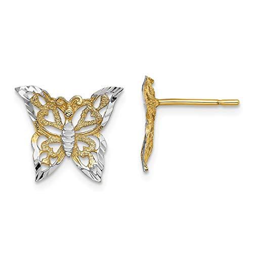 Pendientes de dos tonos de oro brillante de 14 quilates, diseño de alas de ángel, de dos colores, joyería de regalo para mujeres
