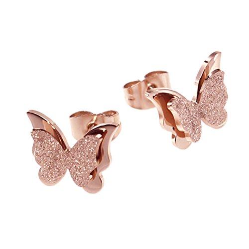Paialco Pendientes de mariposa de acero inoxidable chapado en oro rosa