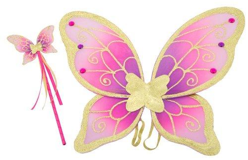 Lucy Locket - Alas de Mariposa y Varita mágica Doradas, moradas y Rosa para Disfraz Infantil de Hada (3-10 años)