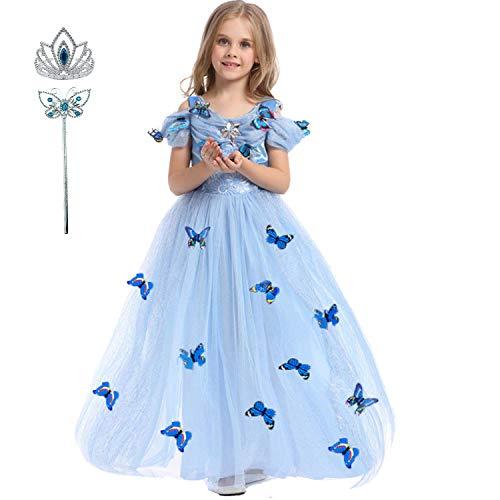 LiUiMiY Vestido de Princesa Disfraz Niña Tul Rosa para Carnaval Cumpleaños Cosplay Halloween Fiesta 2-8 años con accesorios, Azul, 104-110 (etiqueta 110)