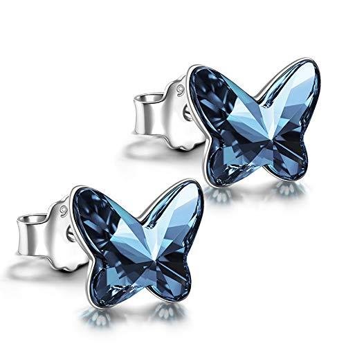 ANGEL NINA Pendientes de plata para mujer Regalos Dia De La Madre Pendientes de cristal para mujer Pendientes de botón para niñas Pendientes de niña Pendientes de plata 925 Regalos para su