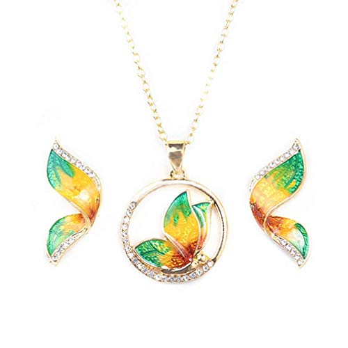 PULABO Joyería Animal Mariposa Conjuntos Boda Collar Pendientes para Mujeres Verde Excelente Qualitytrust