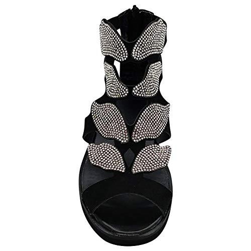 Guajave - Sandalias de gladiador con diamantes de imitación, diseño de mariposa, para mujer 41 negro
