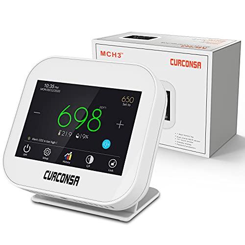 Medidor de CO2, Sensor de CO2, Sensor de CO2 con Temperatura Ambiente, Humedad y Reloj, Sensor NDIR-CO2, Pantalla TFT a Color de 3,5 Pulgadas con táctil capacitiva.