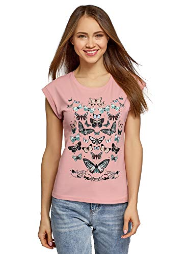 oodji Ultra Mujer Camiseta de Algodón con Estampado y Pedrería Metálica, Rosa, ES 42 / L