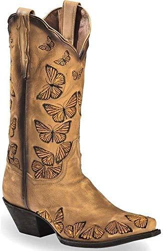 SQL Vaquero Mujer Botas con tacón PU de imitación Zapatos de Invierno Bloqueo del Tobillo Botas con Bordado étnico,A,41