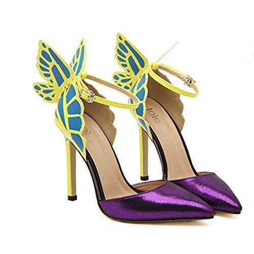 PFMY.DG Zapatos de Mujer Diario de Vampiros de Verano fantasía alas de Mariposa Zapatos de tacón Alto Boca de Pescado Puntiagudos Sandalias de tacón Alto,Púrpura,37