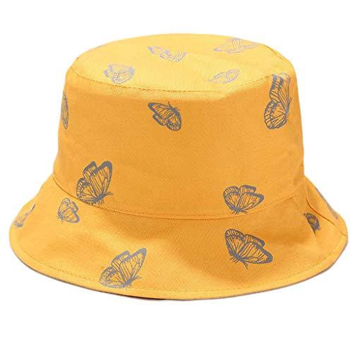 GUMEI Gorra de Pescador Reversible con Estampado de Mariposas Unisex con protección Solar