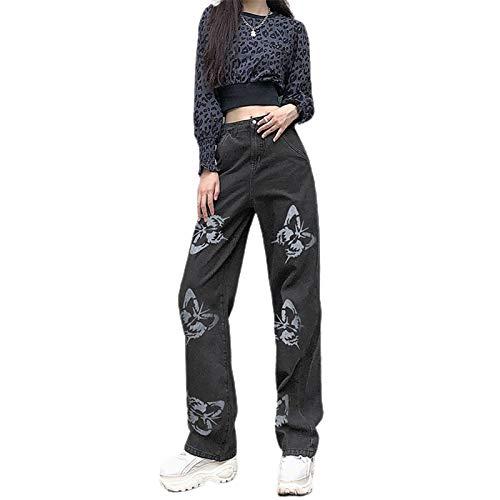 Loalirando Vaqueros Rectos para Mujer Pantalones Largos de Cintura Alta con Bolsillos Jeans Holgado y Elástico de Estilo Informal y de Moda (Mariposa-Negro, M)
