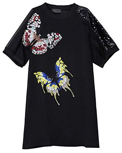 Señoras Bordado De La De Manera La Camiseta Mariposa Modernas Casual con Lentej