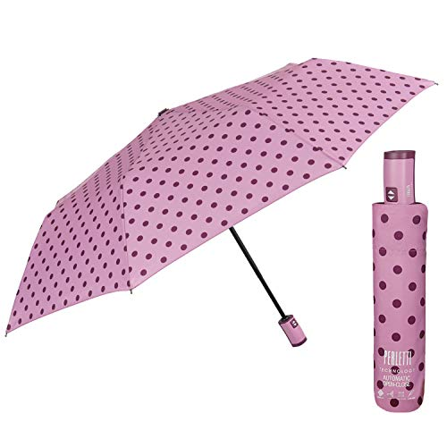 Paraguas Plegable Pequeño de Bolso Mujer - Paragüitas Abre y Cierra Automático con Lunares - Paraguas Resistente al Viento Compacto Portátil- Diámetro 98 cm PERLETTI Technology (Lunares Rosa)