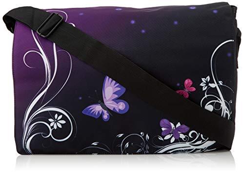Luxburg® - Bolso de mensajero con bandolera, para el trabajo, la escuela y el ocio, Multicolor (mariposas moradas), 7-8 Años
