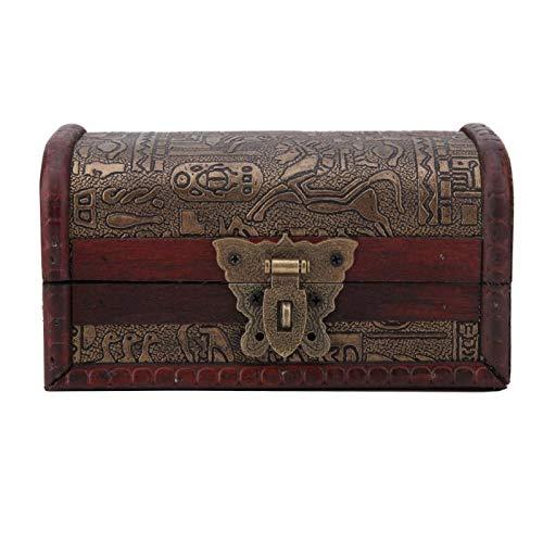 Oumefar Caja de Madera de la joyería Organizador de la joyería Caja de Almacenamiento de la joyería Joyero de Madera para la joyería(Cerradura de un Solo Orificio con Mariposa)
