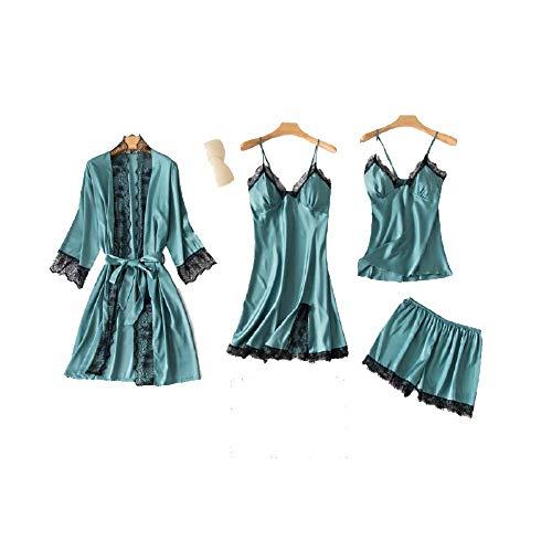 Chongmu Mujeres 4pcs Pijama de Seda Conjuntos Camisón de Satén Ropa de Dormir Bata Cuello en V Pijamas Albornoz