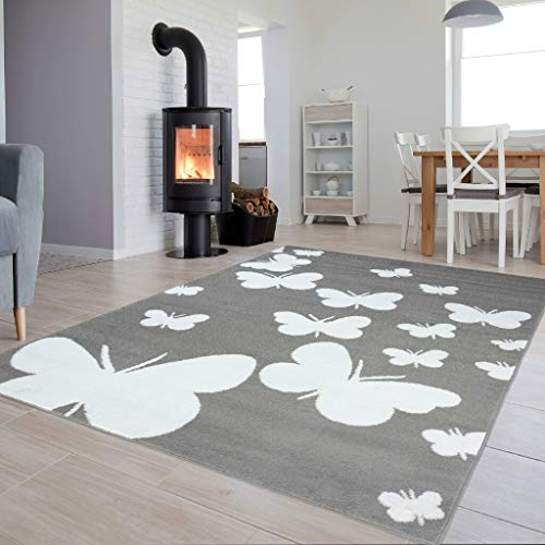 Tapiso Colección Luxury Alfombra Salón Moderno Piso Color Gris Blanco Diseño Mariposas Fácil Mantenimiento 300 x 400 cm