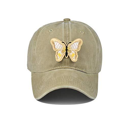 N/A Gorra de Beisbol Mariposa Washed Baseball Dad Cap Mujeres Sombreros Snapback para Mujeres Moda Vintage Sombreros Butterfly Cap