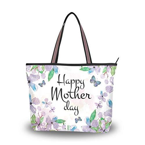 Día de la Madre Flor Púrpura Mariposa para Madre Mujeres Niñas Señoras Estudiante Bolso de mano Bolsos de hombro Bolsos Ligero Correa Monedero Compras