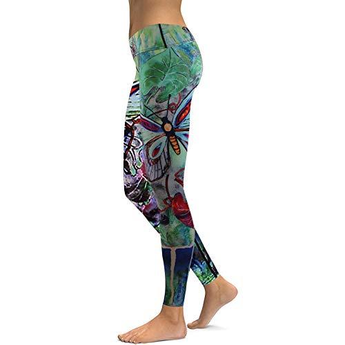 Pantalones de Yoga para Mujer, Ropa Deportiva con Estampado de Mariposas Verdes, Trajes de Verano de Cintura Alta para Mujer, Legging Deportivo M Verde
