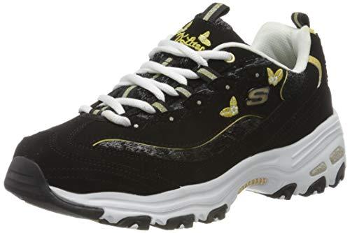 Skechers D'lites, Zapatillas Mujer, Negro (Black Leather/Mesh/Gold Trim Bkgd), 38 EU