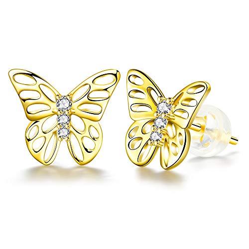 ZENI Pendientes de Mariposa para Mujer, Chapado en Oro de 14 K, Plata de Ley 925, Pendientes Hipoalergénicos, Regalo de Joyería