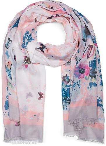 styleBREAKER chal de mujer con un colorido motivo estampado de mariposas y deshilachados, pañuelo 01016178, color:Gris claro-Rosa