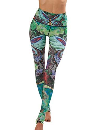 Battercake Mariposa De La Mujer Gimnasio Yoga Fitness Mujeres Casuales Leggings Deporte Capris Pantalones Ajustados Cintura Elástica Pantalones De Chándal Pantalones (Color : Verde, Size : M)