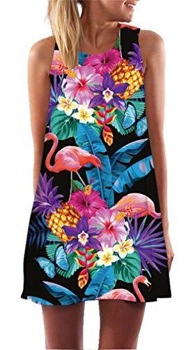 Ocean Plus Mujer Verano Flamenco Camisola Vestido De Playa Top Sin Mangas Trapecio O Corte En A Vestido Oeste (XXL (EU 42-44), Flamingo Mariposa en Negro)