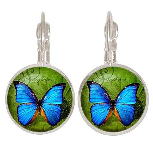 Pulabo - Pendientes retro para mujer, diseño de cabujón de mariposa y mariposa, diseño retro, color plateado