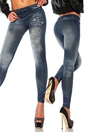 Huixin Pantalones Vaqueros De Las Señoras De Elásticos Impresos Stretch Mariposa Leggings con Bolsillos Botón Jeggings Delgados Pantimedias Pantalones De Lápiz (Color : Blau, Size : One Size)