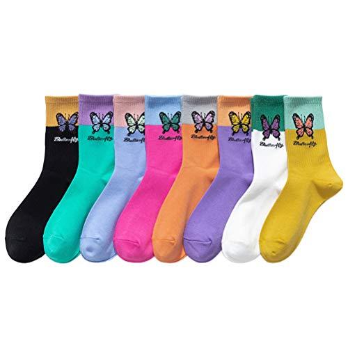 Suszian Calcetines de Mujer de Moda, 8 Pares de Calcetines de algodón de Mariposa Colorida Calcetines Largos Transpirables Calcetines de algodón de Moda
