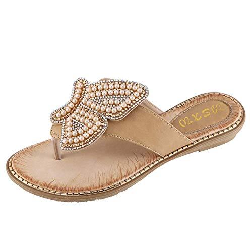 CYQ Sandalias para Mujer, Zapatos de Verano con Cuentas de Mariposa para Mujer Sandalias Chanclas (36-42), Albaricoque, 40