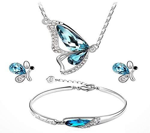 Conjunto De Joyas Con Incrustaciones De Cristal Populares Collar De Mariposa Pendientes De Pulsera Conjunto De Tres Piezas Para Mujeres