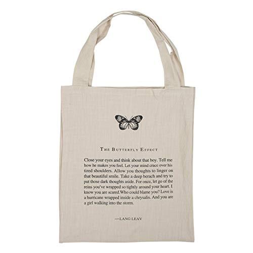 Lsdnlx Bolso convas, Bolsos de hombro de lona de lino de algodón ligero Bolso de compras Bolsillos dobles Bolso de mano de gran capacidad Estampado de mariposa