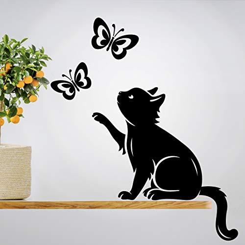 Pegatina de pared con diseño de mariposas, diseño de mariposas, vinilo para decoración del hogar, traslados de vida de gatos, sala de estar, cocina, mascotas, animales, diseño de póster pegatinas