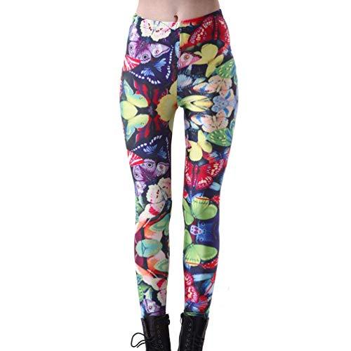 Huixin Leggings De Yoga Moda para Mujer De Mariposa Stretch Colorido Estampado Deporte Fitness Pantalones Cintura Alta Pantalones Acogedores Pantalones De Chándal (Color : Colour, Size : L)