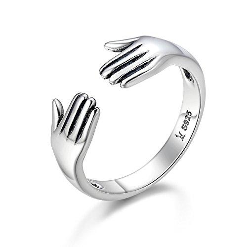 GOXO Anillo abrazo de plata de ley anillos ajustables para mujer hombre