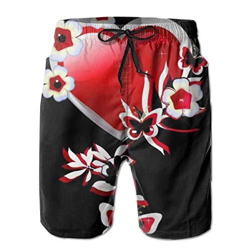 Love girl Shorts de Playa de Secado rápido para Hombres Corazón con Forro de Malla de Mariposas Troncos de Surf con bañador con Bolsillos, Talla L