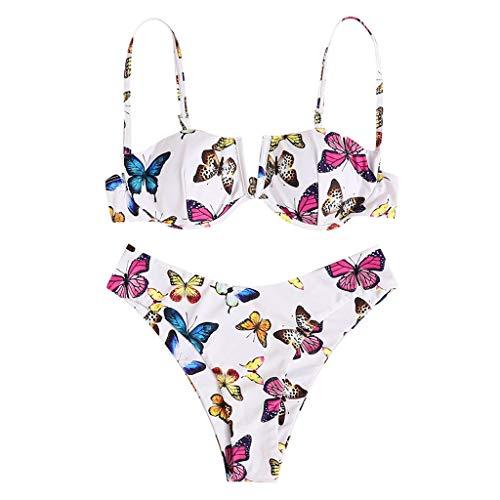 Deajing Bikini Mujer Traje de Baño de Dos Piezas Conjunto de Bikini Traje de Baño Dividido Push-up Bañador Impresión de la Mariposa Cintura Alta Ropa de Playa