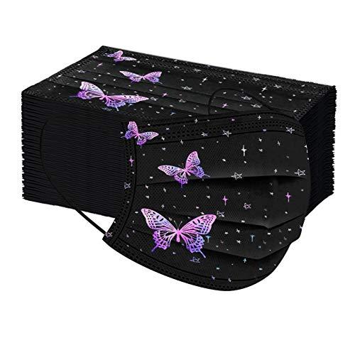 MORCHAN 50 mascarillas desechables para adultos negra Mariposa floral, agradable a la piel y cómodo Adecuado para salir, ir de fiesta (B)